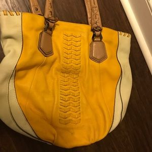Or Yany Never Full Cream Pebble Yellow Leather Bag